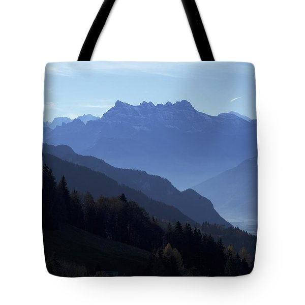 Blue On Blue-- Les Dents Du Midi  Tote Bag by Colleen Williams