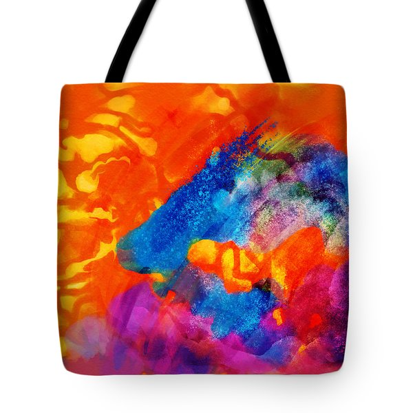 Blue On Orange Tote Bag