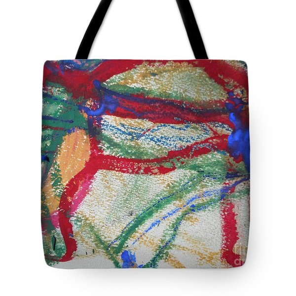 Blue On Red Tote Bag
