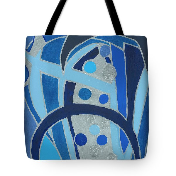 Tote Bag featuring the painting Blue On Silver by Ania M Milo