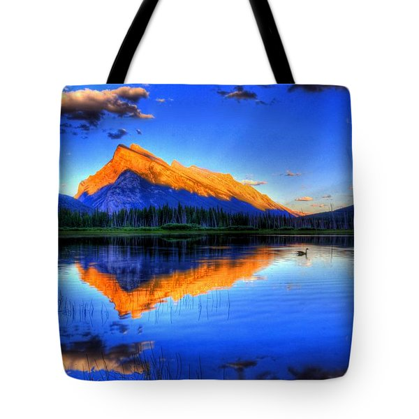 Tote Bag featuring the photograph Blue Orange Mountain by Test Testerton