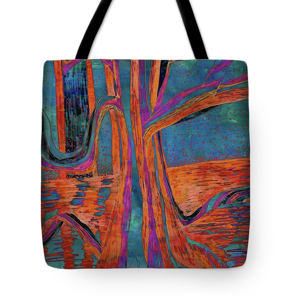 Blue-orange Warm Dusk River Tree Tote Bag
