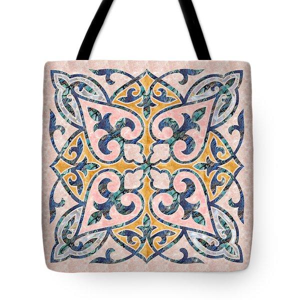 Blue Oriental Tile 01 Tote Bag