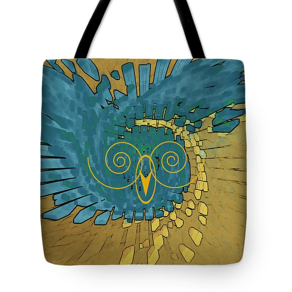 Tote Bag featuring the digital art Abstract Blue Owl by Ben and Raisa Gertsberg