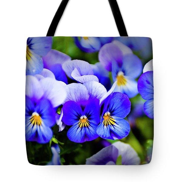 Blue Pansies Tote Bag by Tamyra Ayles