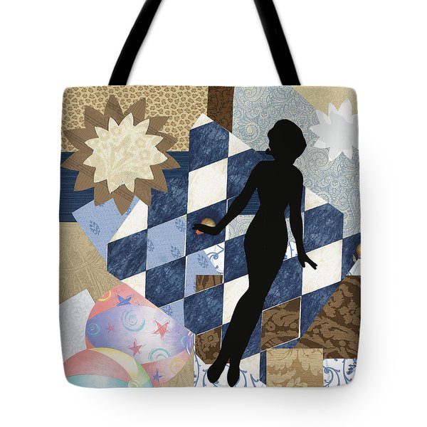 Blue Paper Doll Tote Bag