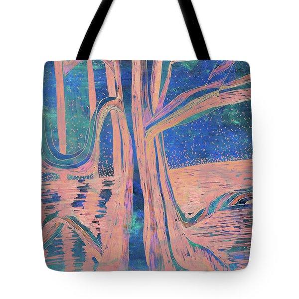 Blue-peach Dawn River Tree Tote Bag