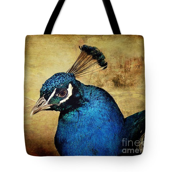 Blue Peacock Tote Bag
