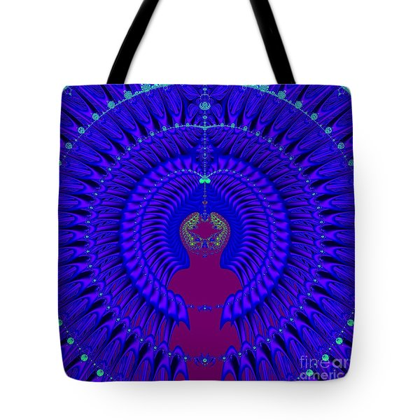 Blue Peacock Fractal 92 Tote Bag