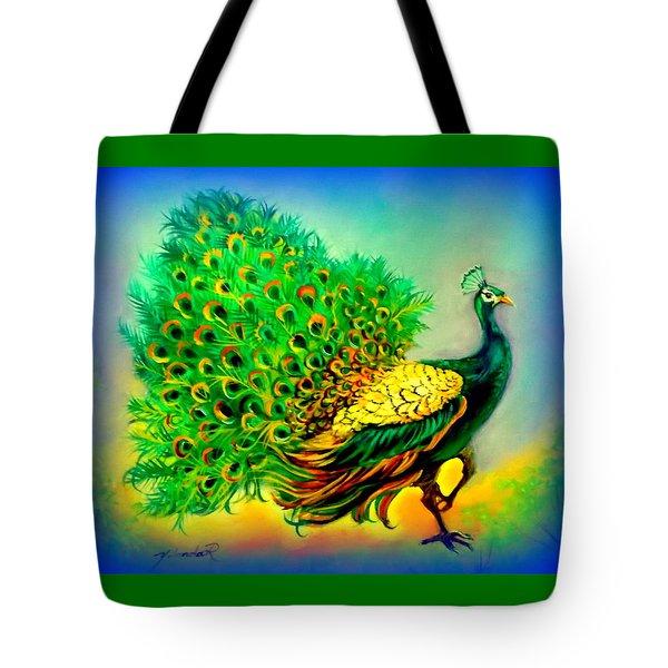 Blue Peacock Tote Bag by Yolanda Rodriguez
