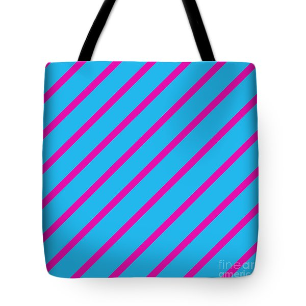 Blue Pink Angled Stripes Abstract Tote Bag