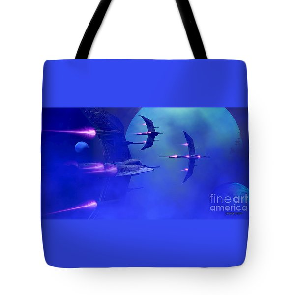 Blue Planet And Moons Tote Bag by Corey Ford