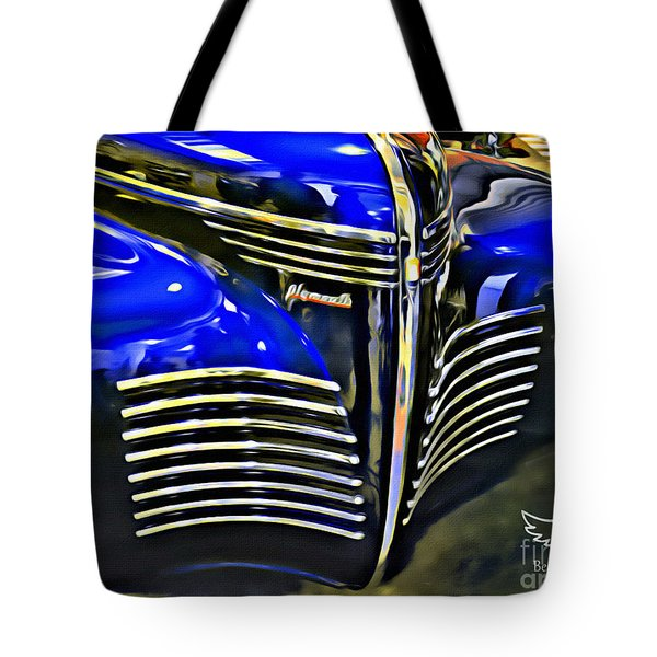 Tote Bag featuring the photograph Blue Plymouth Coupe by Beauty For God