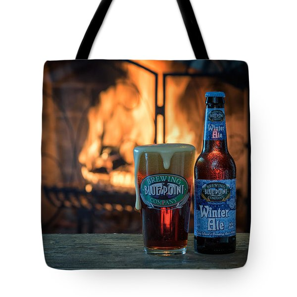 Blue Point Winter Ale By The Fire Tote Bag by Rick Berk