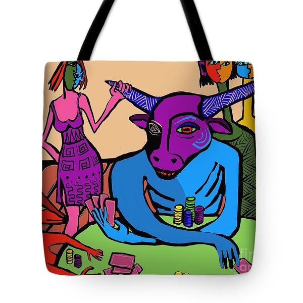Blue Poker Bull Tote Bag