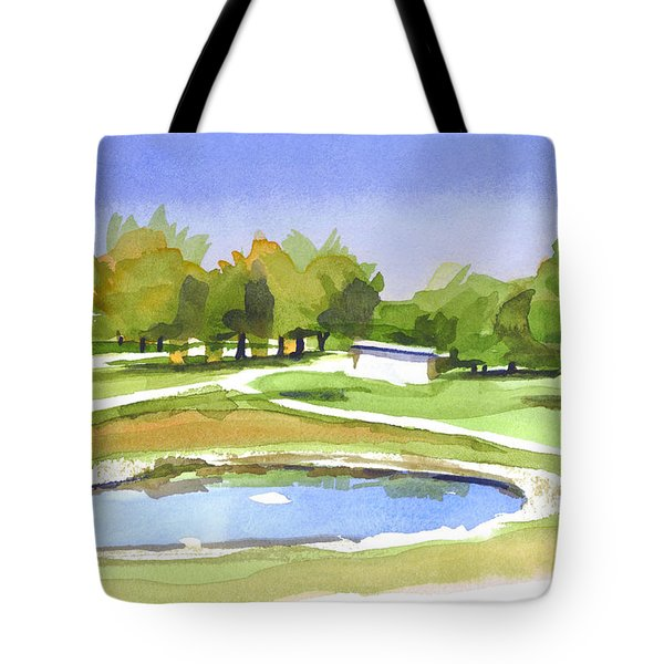 Tote Bag featuring the painting Blue Pond At The A V Country Club by Kip DeVore