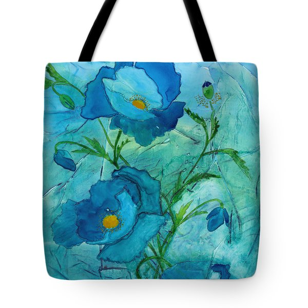 Blue Poppies, Watercolor On Yupo Tote Bag