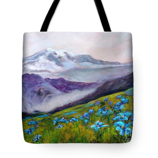 Blue Poppy Field Tote Bag