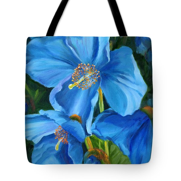 Blue Poppy Tote Bag by Renate Nadi Wesley