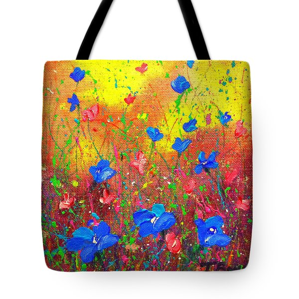 Blue Posies Tote Bag