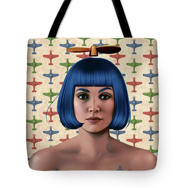 Blue Propeller Gal Tote Bag
