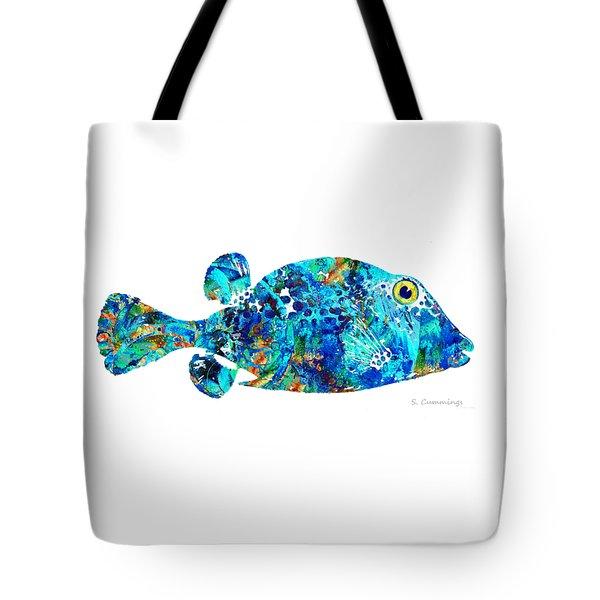 Blue Puffer Fish Art By Sharon Cummings Tote Bag