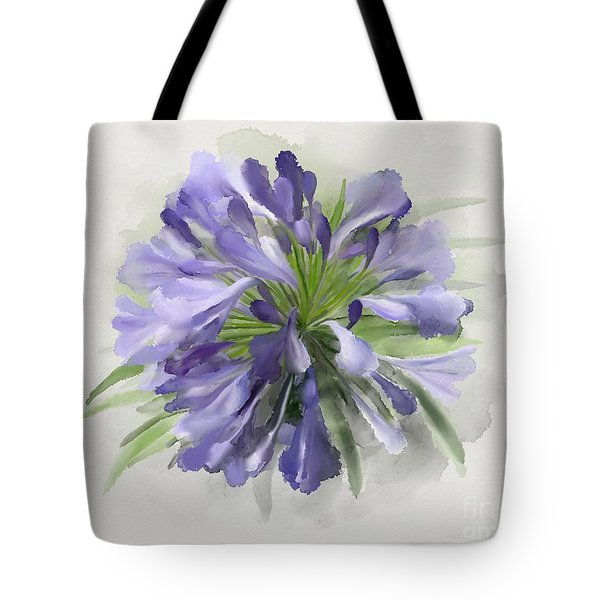 Tote Bag featuring the painting Blue Purple Flowers by Ivana Westin