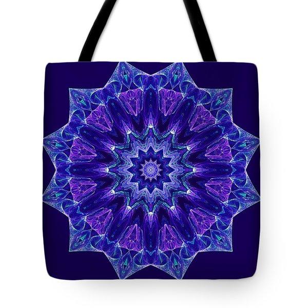 Blue And Purple Mandala Fractal Tote Bag