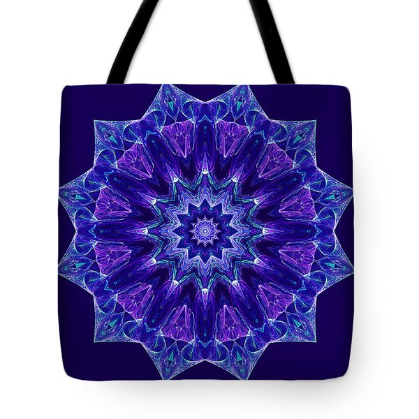 Blue And Purple Mandala Fractal Tote Bag