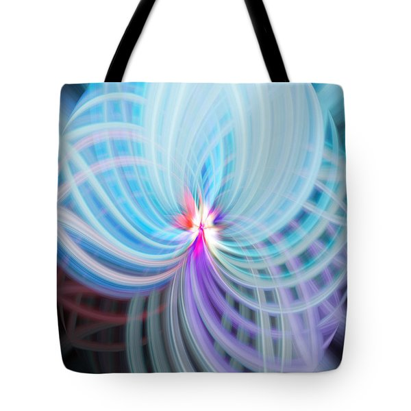 Blue/purple Spere Tote Bag by Cherie Duran
