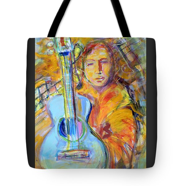 Blue Quitar Tote Bag by Mary Schiros