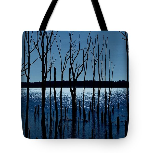 Blue Reservoir - Manasquan Reservoir Tote Bag by Angie Tirado