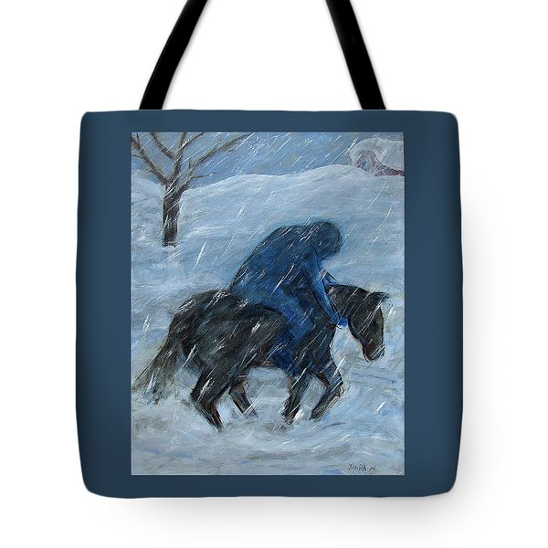 Blue Rider On Horse Tote Bag