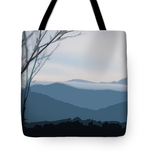 Tote Bag featuring the digital art Blue Ridge Above The Clouds by Gina Harrison
