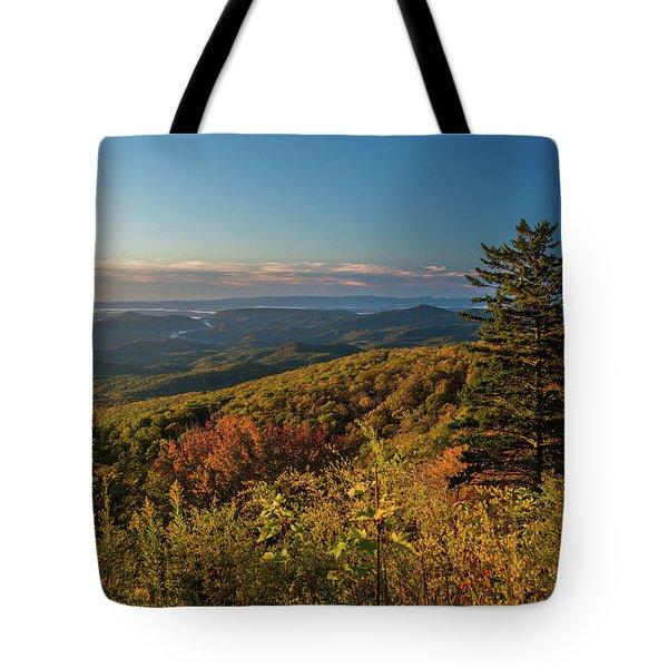 Blue Ridge Mountain Autumn Vista Tote Bag