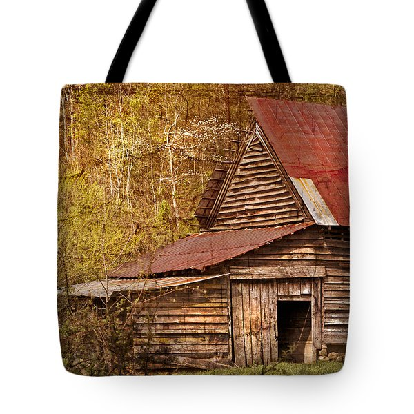 Blue Ridge Mountain Barn Tote Bag by Debra and Dave Vanderlaan