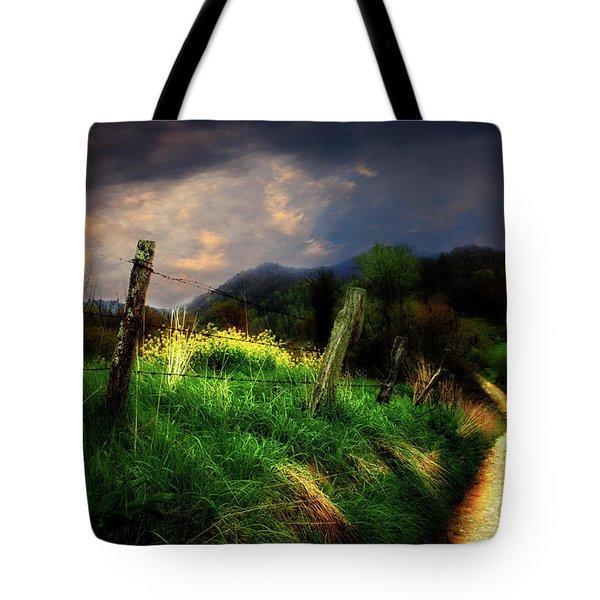 Blue Ridge Mountain Country Road Tote Bag by Gray  Artus