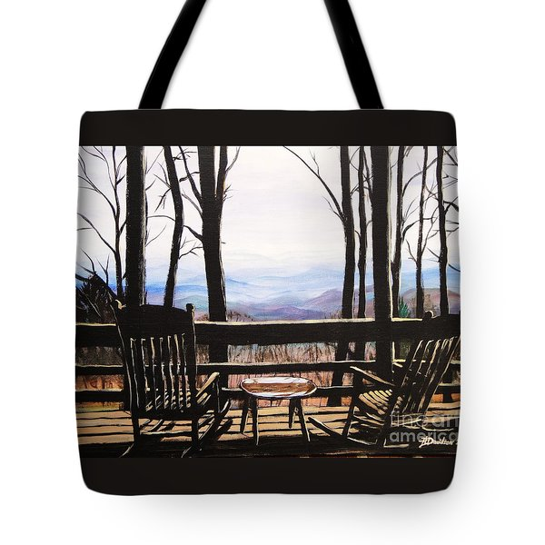 Tote Bag featuring the painting Blue Ridge Mountain Porch View by Patricia L Davidson