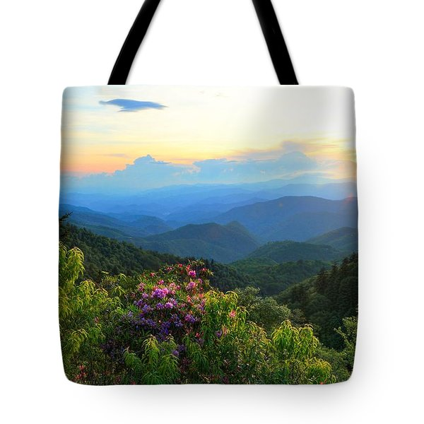 Blue Ridge Parkway And Rhododendron  Tote Bag
