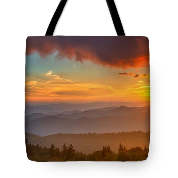 Blue Ridge Sunset Pano Tote Bag