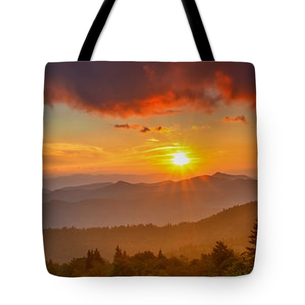 Blue Ridge Sunset Pano Tote Bag