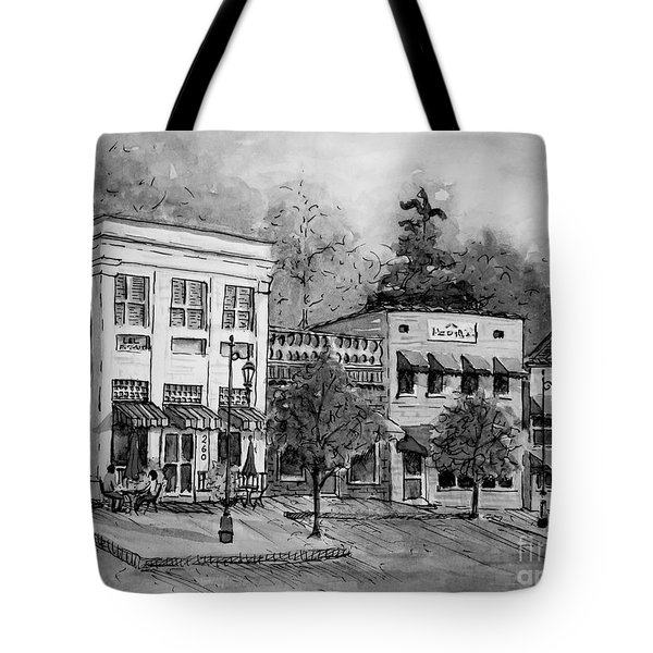 Blue Ridge Town In Bw Tote Bag by Gretchen Allen