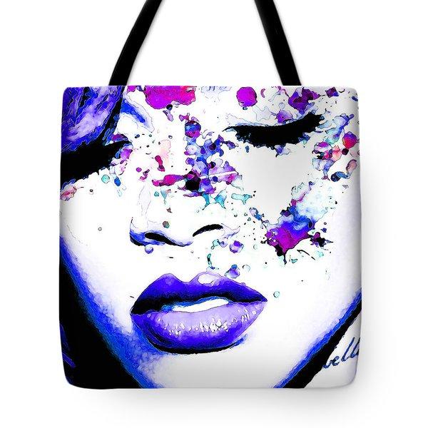 Blue Rihanna Tote Bag by Alex Antoine