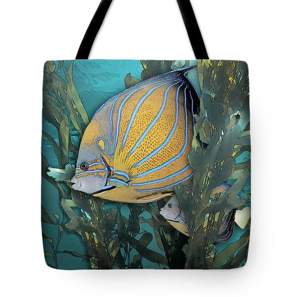 Blue Ring Angelfish In Kelp Tote Bag