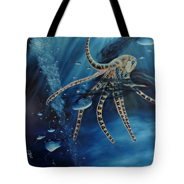 Blue Ring Octopus Tote Bag