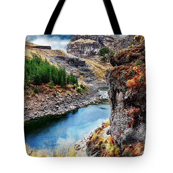 Blue River In Mountains Tote Bag