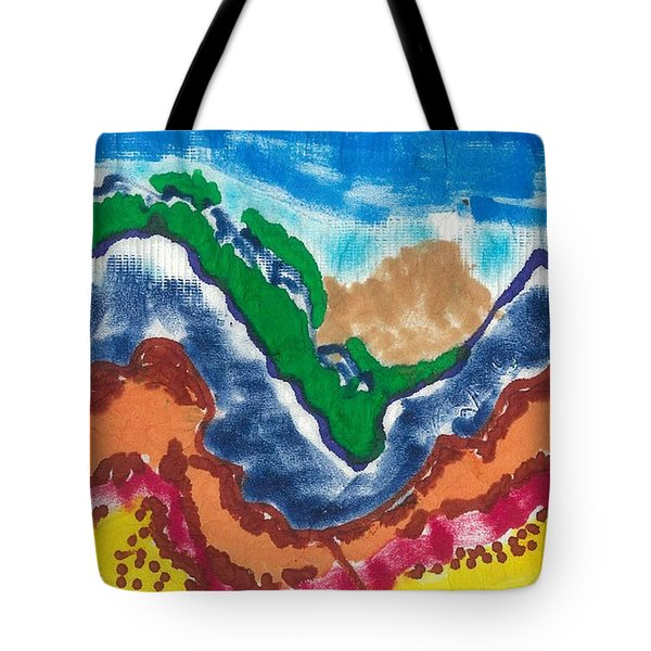 Tote Bag featuring the drawing Blue Rockies by Don Koester