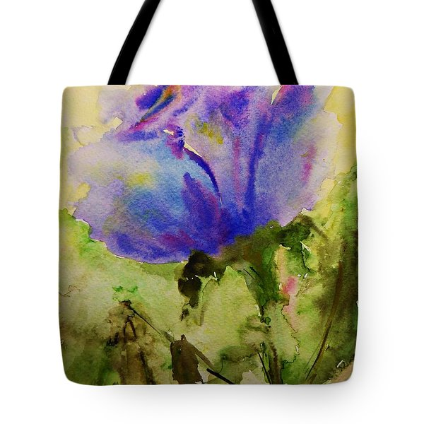 Tote Bag featuring the painting Blue Rose Watercolor by AmaS Art