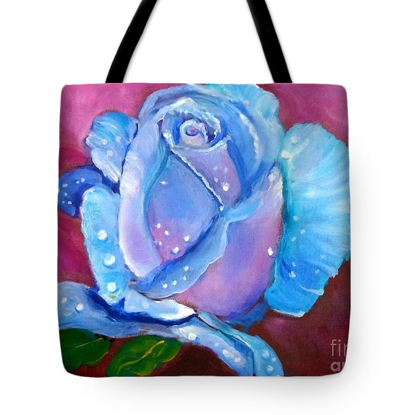 Blue Rose With Dew Drops Tote Bag by Jenny Lee