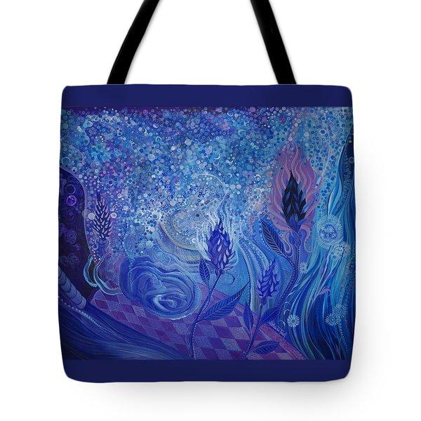 Blue Rosebud Ballroom Tote Bag by Adria Trail